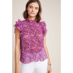 Anthropologie Frieda Floral Ruffle Blouse